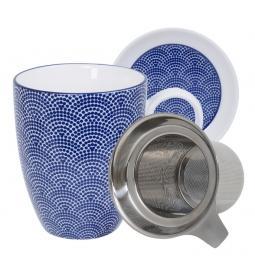 Nippon Blue Mug Giftset Dot w/Strainer and Teatip