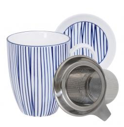 Nippon Blue Mug Giftset Lines w/Strainer and Teatip