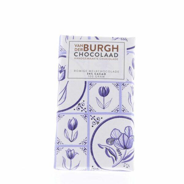 Romige Melkchocolade 100g Van der Burgh Chocolaad Delfts blauw