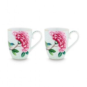 Set/2 Mugs Large Blushing Birds White 350ml PIP
