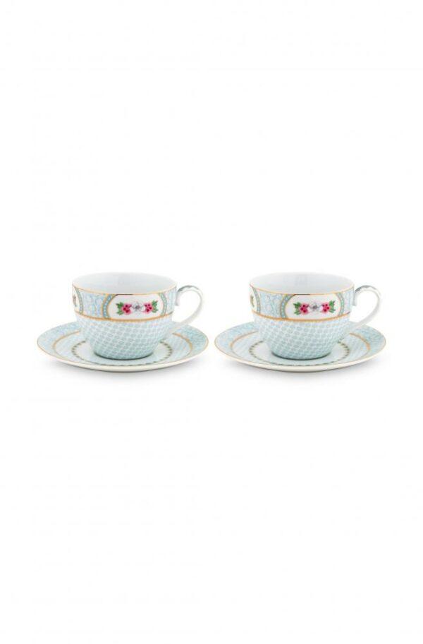 Set/2 Cups & Saucers Blushing Birds White 280ml PIP