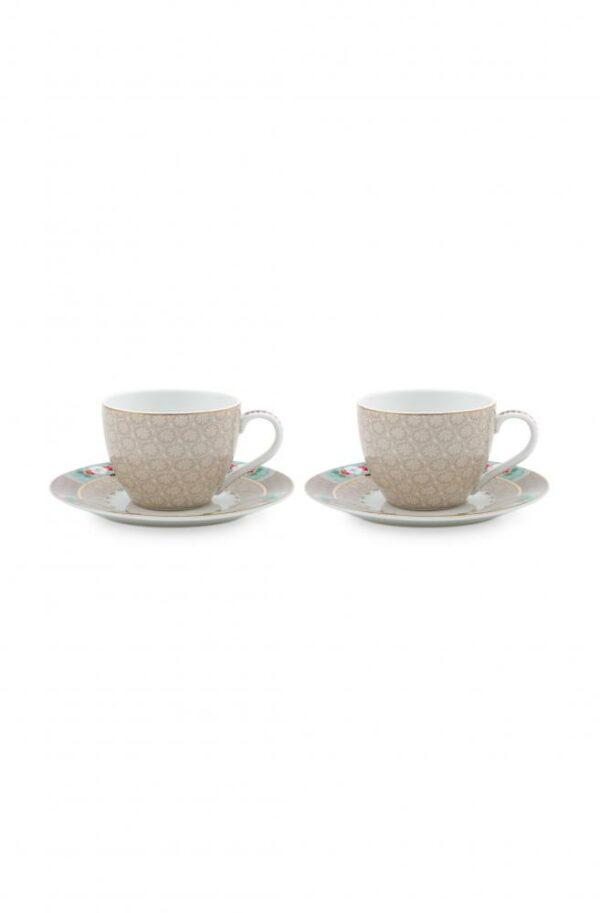 Set/2 Espresso Cups & Saucers BB Khaki 120ml PIP