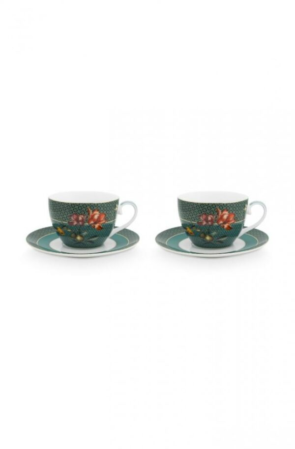 PIP Set/2 Cups & Saucers Winter Wonderland Bird Green 280ml