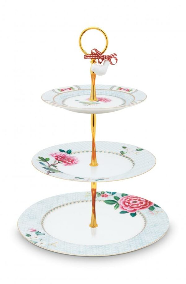 Cake Stand 3/Layers Blushing Birds White 17-21-26.5cm PIP
