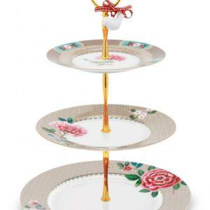 Cake Stand 3/Layers Blushing Birds Khaki 17-21-26.5cm