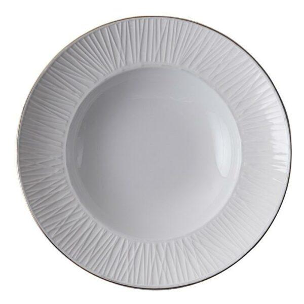 Nippon White Deep Plate 21cm, 160ml, Lines -