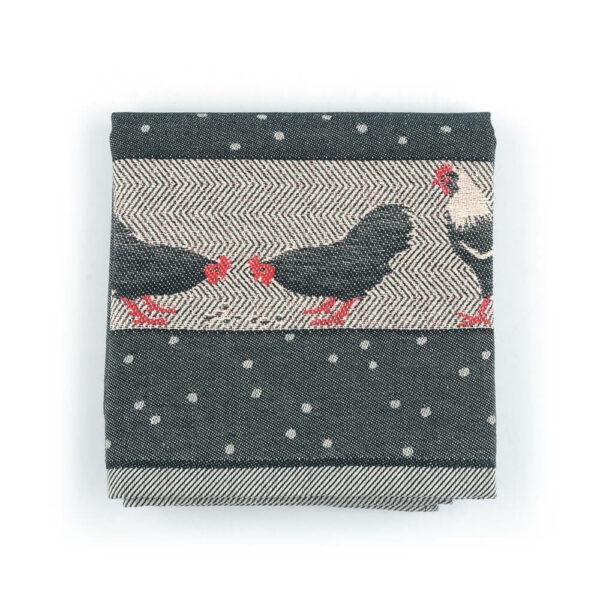 Tea Towel Bunzlau Chickens 65x65cm, black
