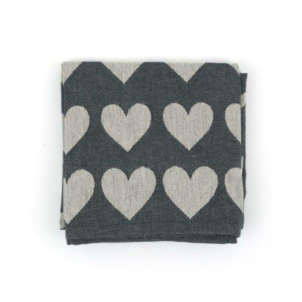 Tea Towel Bunzlau Hearts 65x65cm, black
