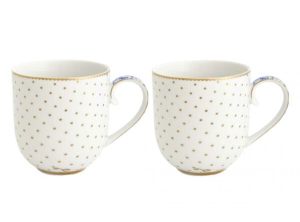 Set/2 Mugs Small Royal White