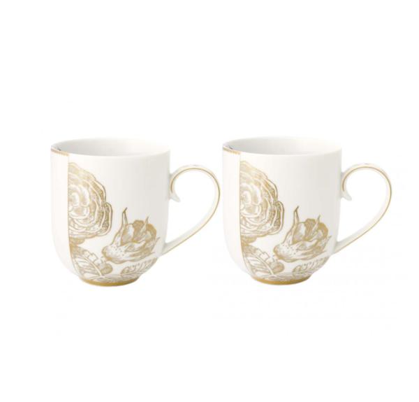 Set/2 Mugs large Royal White