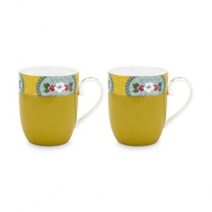 2 Mugs small Blushing Birds Yellow