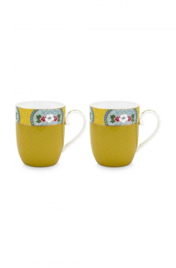 2 Mugs small Blushing Birds Yellow