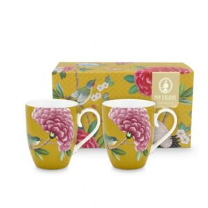 2 Mugs Large Blushing Birds Yellow