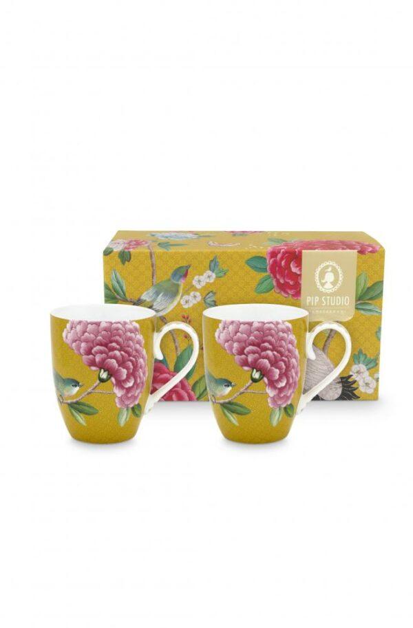 2 Mugs Large Blushing Birds Yellow