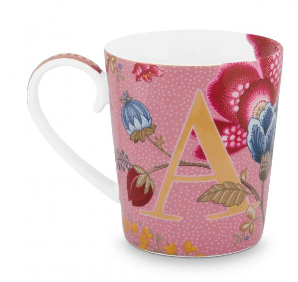 Alphabet Mug Floral Fantasy Pink A