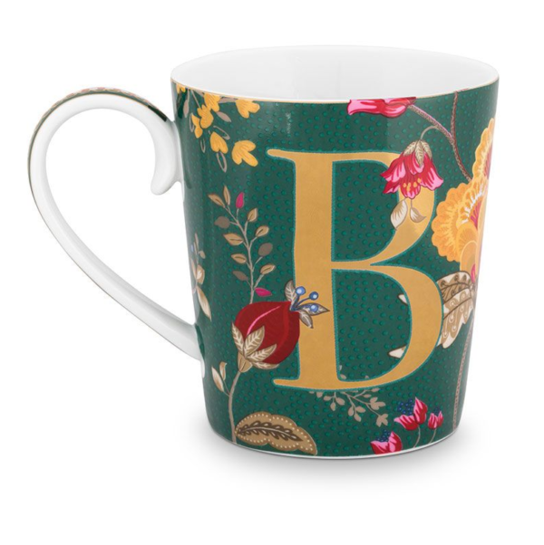 Alphabet Mug Floral Fantasy Green B