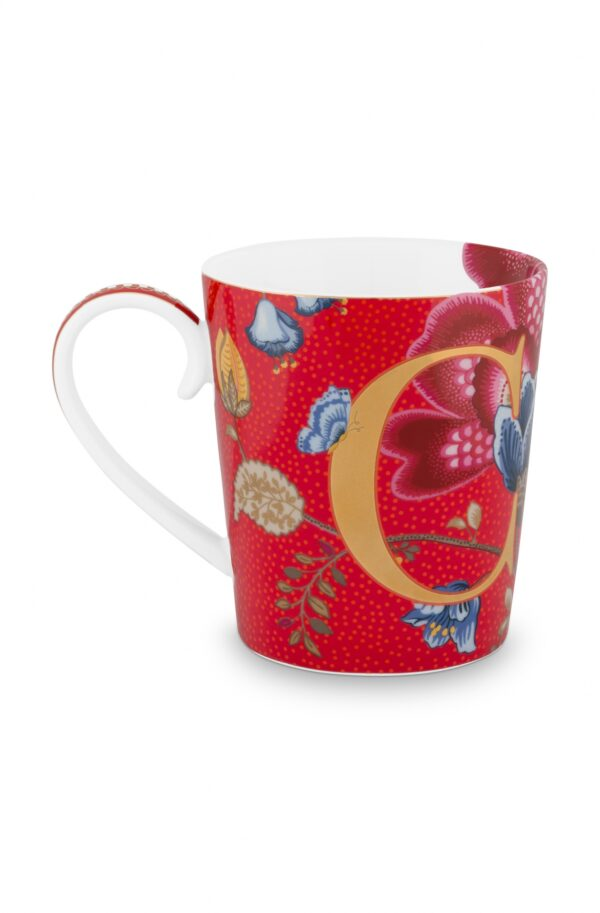 Alphabet Mug Blushing Birds Red C