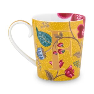 Alphabet Mug Blushing Birds Yellow F