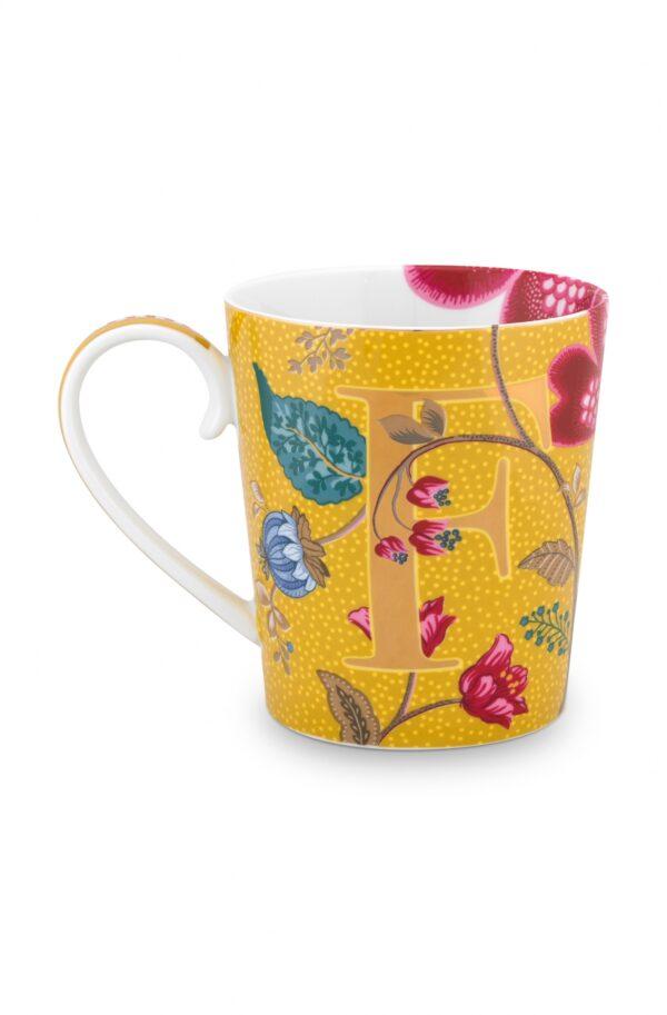 Alphabet Mug Blushing Birds Yellow F
