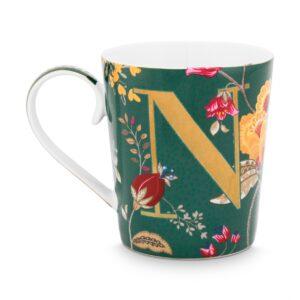 Alphabet Mug Floral Fantasy Green N