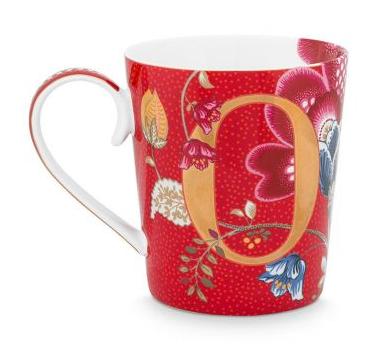 Alphabet Mug Blushing Birds Red O
