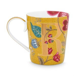 Alphabet Mug Blushing Birds Yellow R