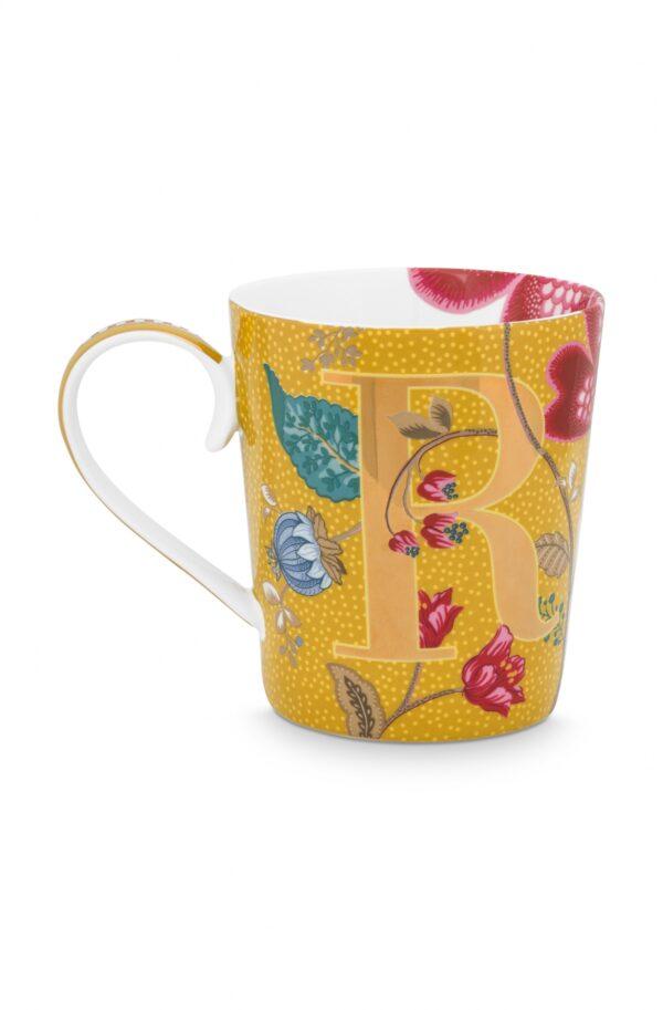 Alphabet Mug Blushing Birds Yellow R