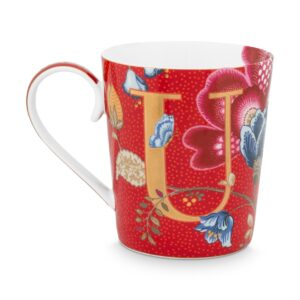 Alphabet Mug Blushing Birds Red U
