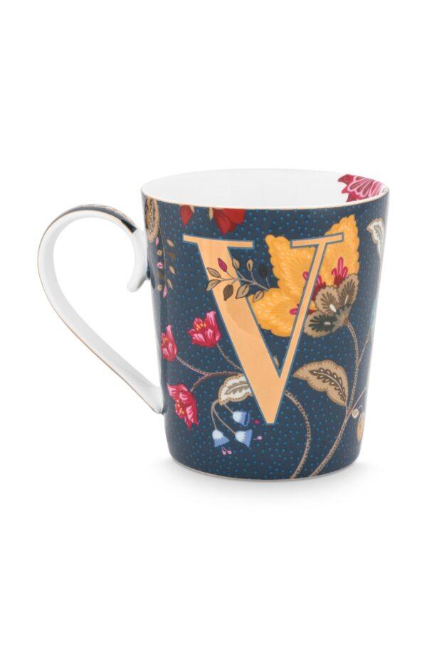 Alphabet Mug Floral Fantasy Blue V