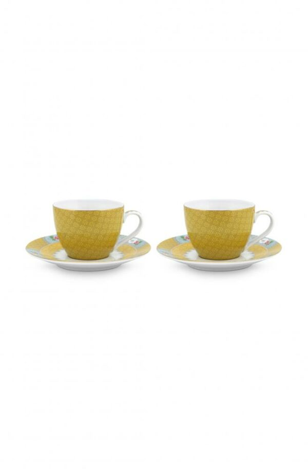 2 Espresso Cups & Saucers Blushing Birds yellow