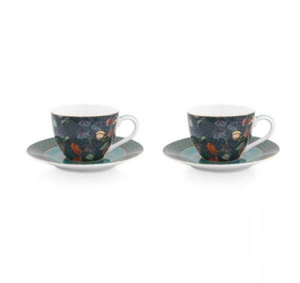 Set/2 Espresso Cups & Saucers Winter Wonderland Overall Dark