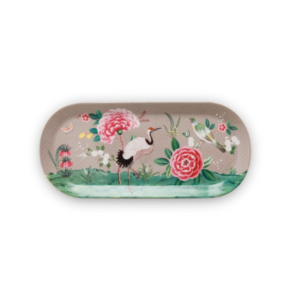 PIP Cake Tray Rectangular Blushing Birds Khaki 33.3x15.5cm