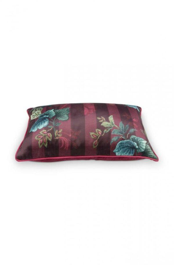 Cushion Leafy Stitch Red