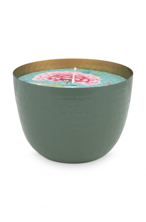 Cup with Candle Green 13 cm
