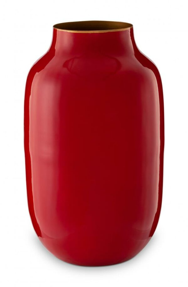 Vase Metal Oval Red