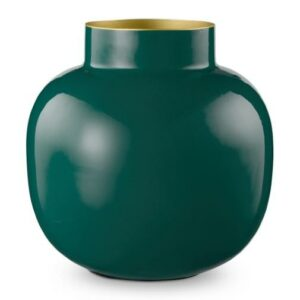 Vase Metal Round Dark Green