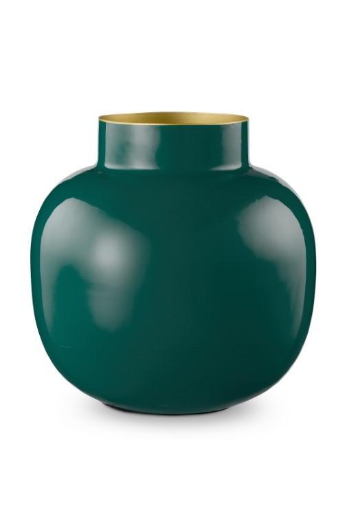 Vase Metal Round Dark Green