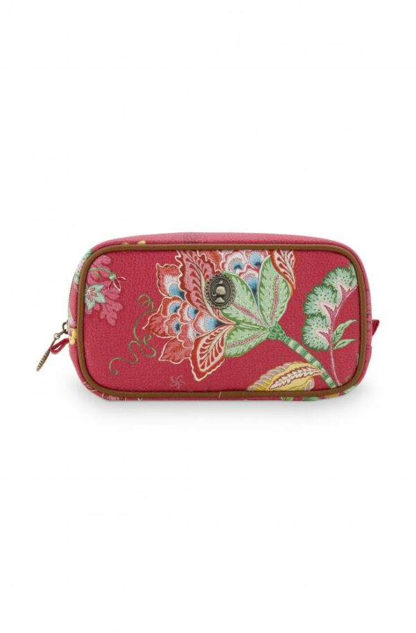 Cosmetic Bag Square Small Jambo Flower Red