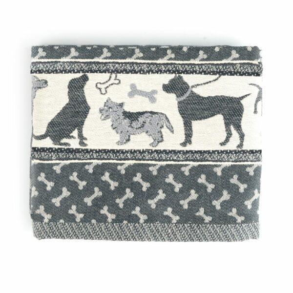 Tea Towel Bunzlau Dogs 65x65cm, black -