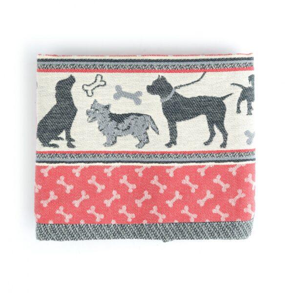 Tea Towel Bunzlau Dogs 65x65cm, red -