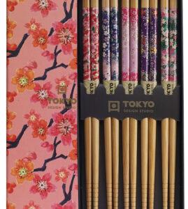 Chopstick Set/5 pair Sakura Patterns, giftbox