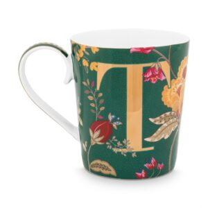 Alphabet Mug Floral Fantasy Green T