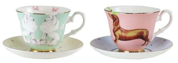 Yvonne Ellen 2 Cup & Saucer 250ml, Poodle & Sausage Dog
