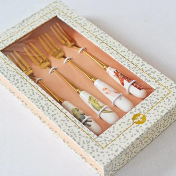 Yvonne Ellen Set/4 Mixed Animal Cake Forks 12,5cm, giftbox