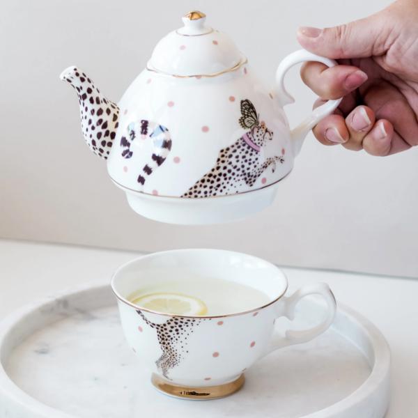 Yvonne Ellen Tea for One 900ml,Cheetah, giftbox /1