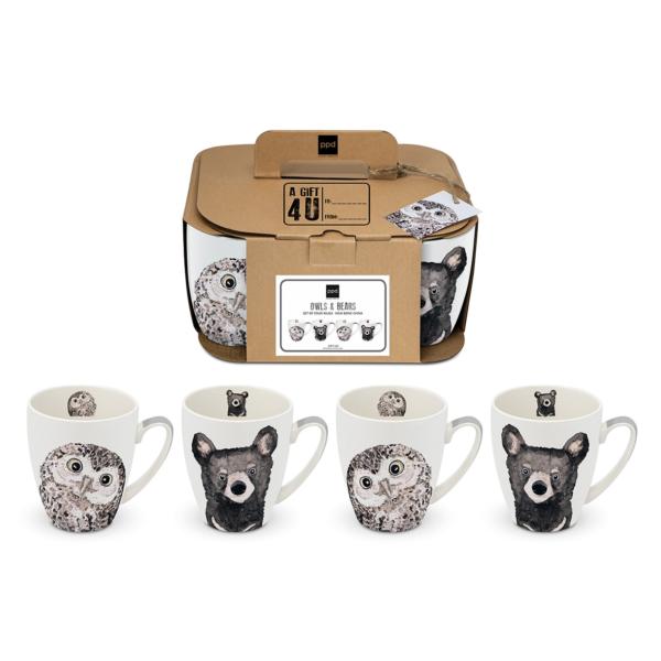 MUG set of 4 OWLS&BEARS PPD