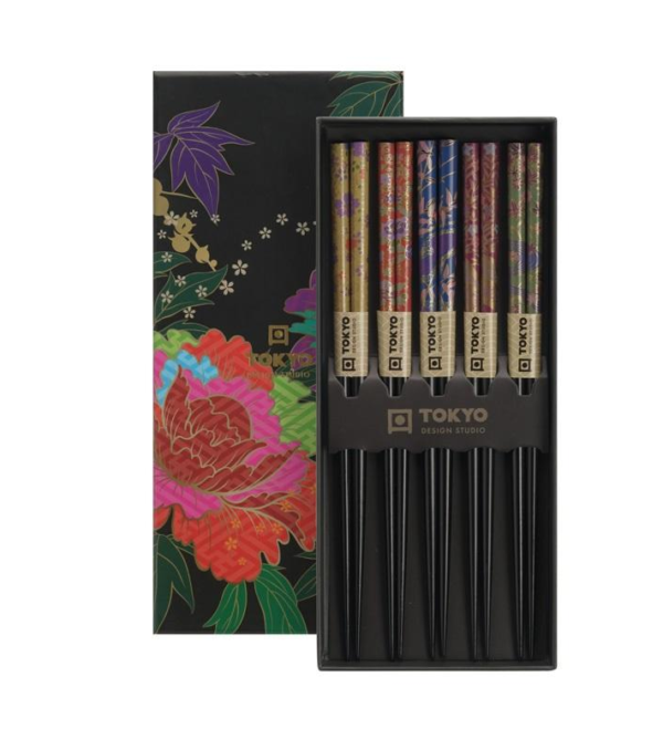 Chopstick Set/5 Peony Flower, giftbox