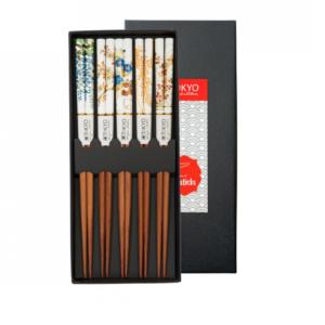 Chopstick Set/5 pair Floral Patterns, giftbox