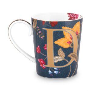 Alphabet Mug Floral Fantasy Blue D