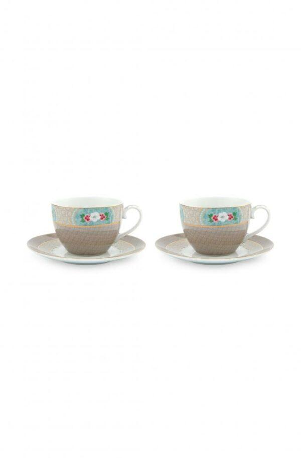 Set/2 Cups & Saucers Blushing Birds Khaki 280ml PIP